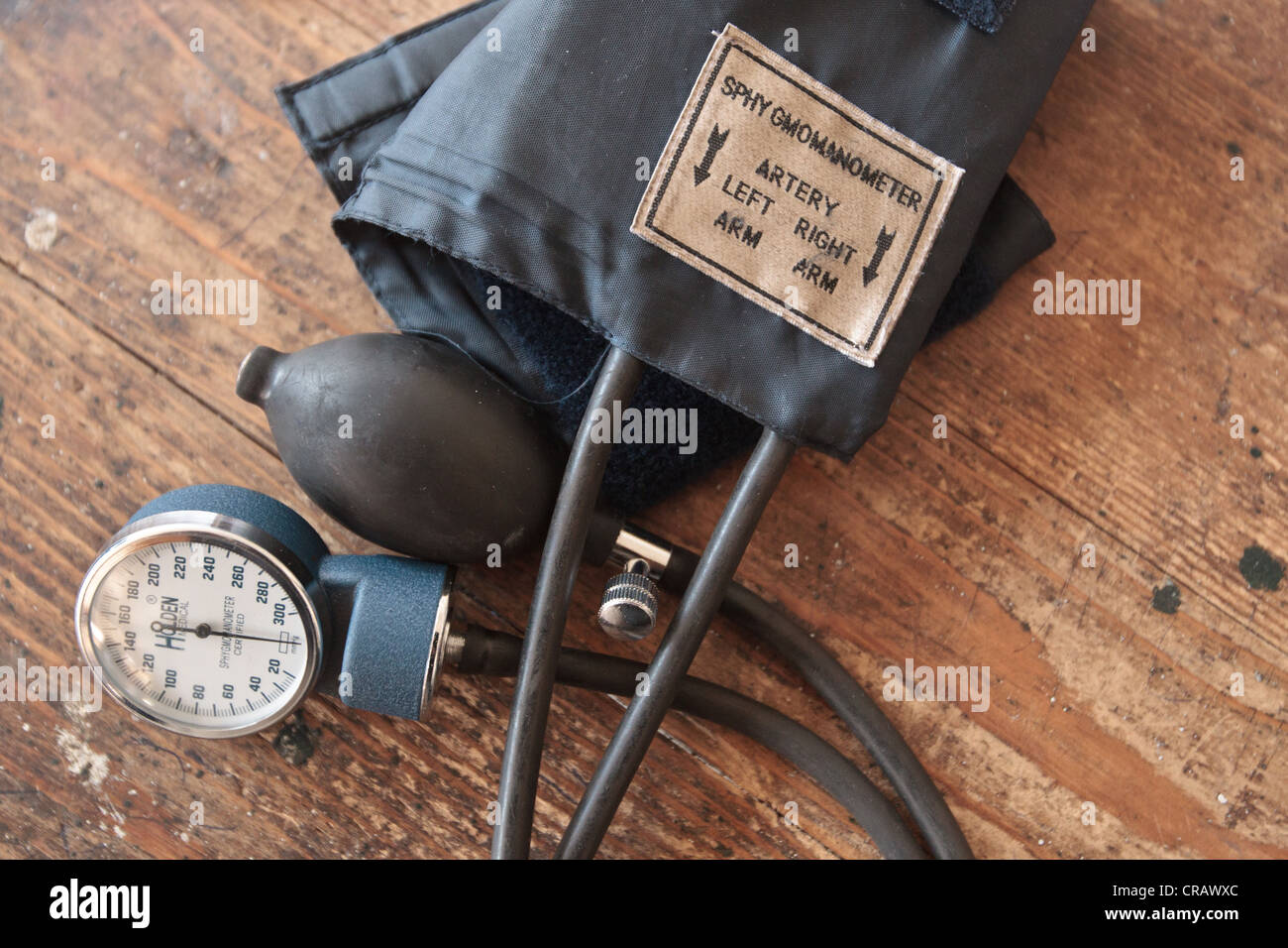 A sphygmomanometer lies on a table at the Slipway clinic in Monrovia, Montserrado county, Liberia on Monday April - Stock Image