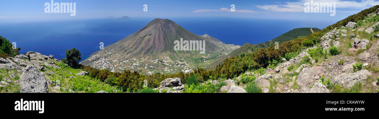 Volcano on Salina island, in the back Filicudi and Alicudi islands, Aeolian Islands, Sicily, southern Italy, Italy, Stock Photo