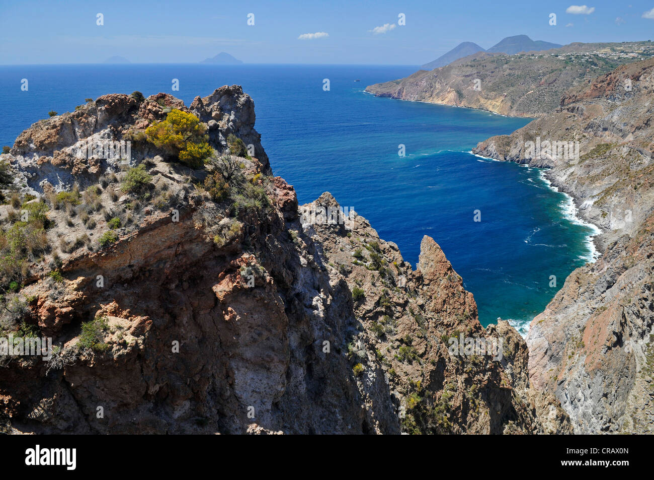 Cliffs of Lipari island, Aeolian Islands, Sicily, southern Italy, Italy, Europe - Stock Image