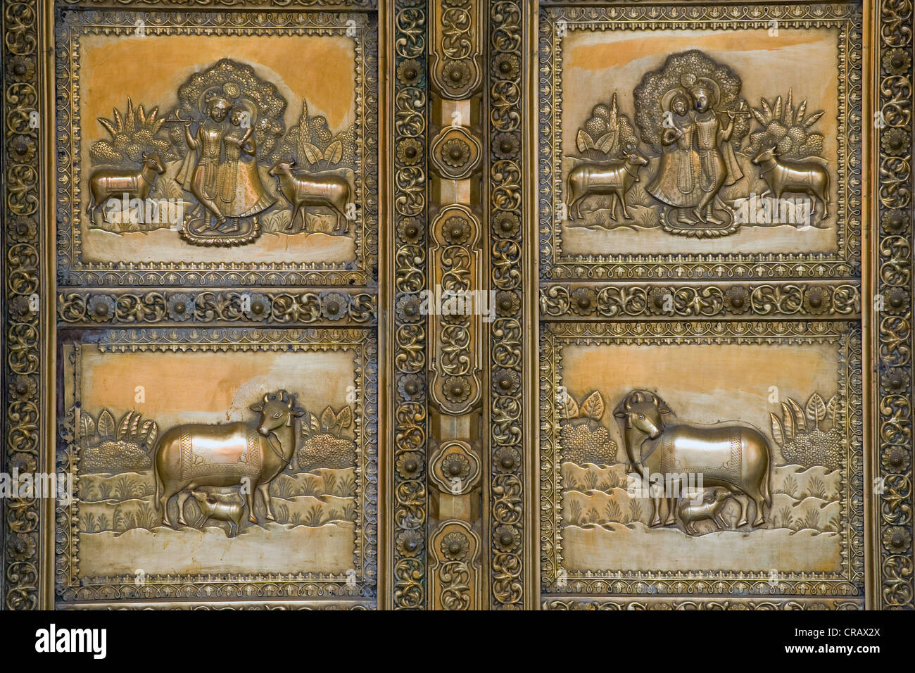 Door decoration with depictions of Krishna and Radha, City Palace, Jaipur, Rajasthan, India, Asia - Stock Image