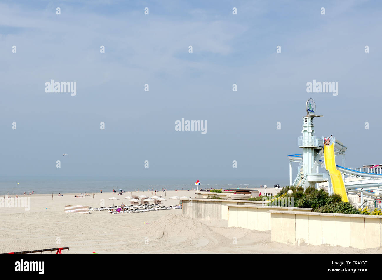 The wide sandy beach and water park at Le Touquet in Picardy in northern France. Stock Photo
