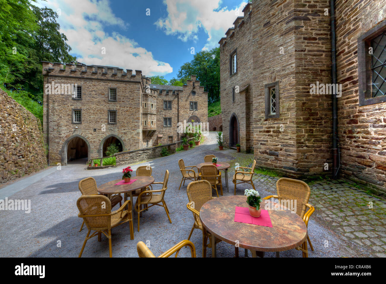 Bailey castle and stables of Schloss Stolzenfels Castle, Koblenz, UNESCO World Heritage Upper Middle Rhine Valley - Stock Image
