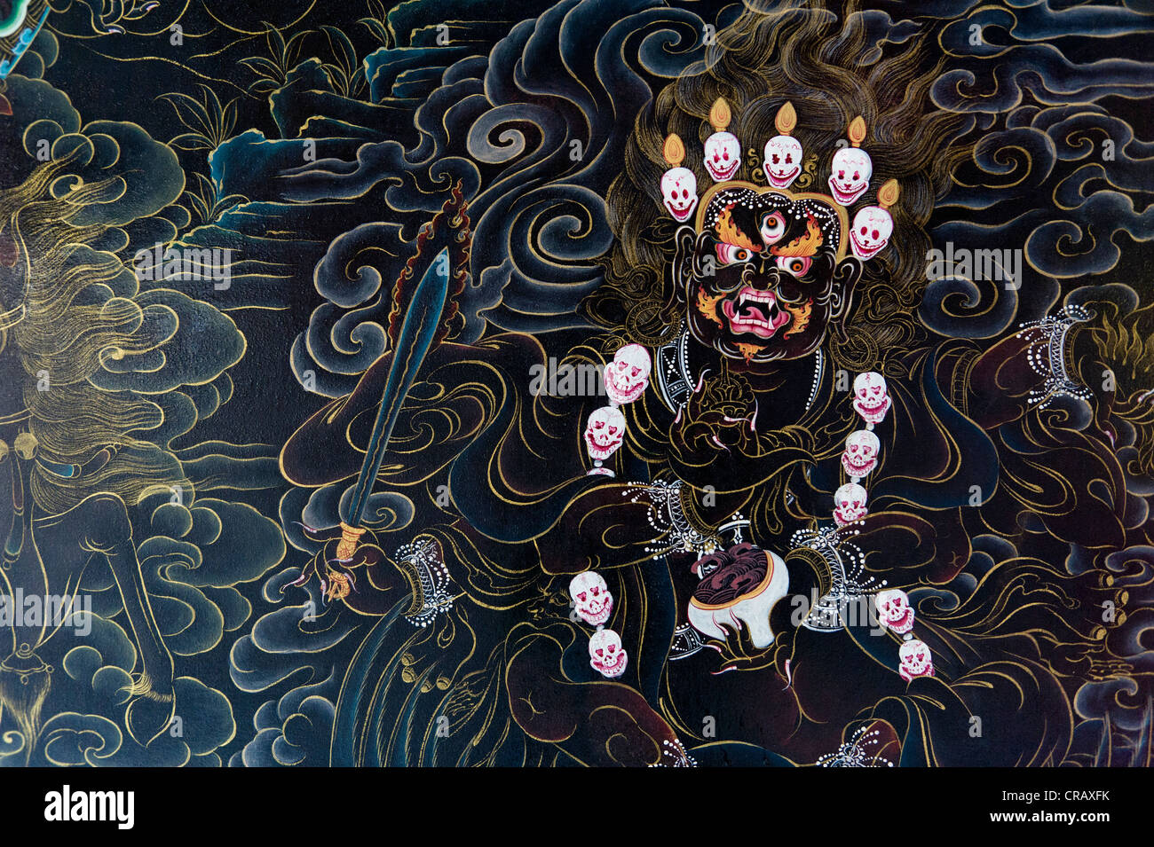 Murals in a Tibetan temple, Tibetan refugee settlement in Bylakuppe, Mysore District, Karnataka, Southern India, - Stock Image