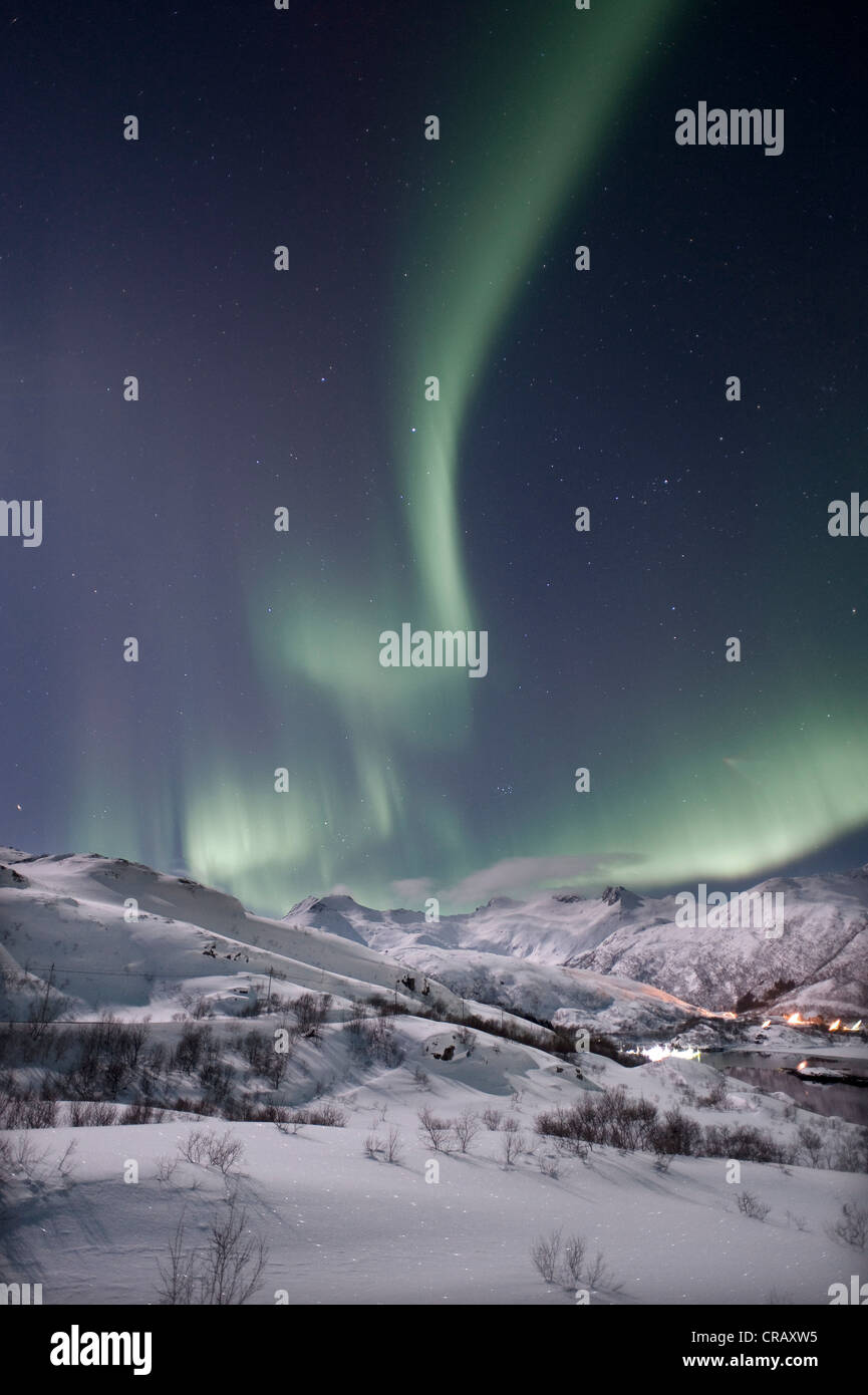 Northern lights, aurora borealis, Austnesfjorden, Island of Austvågøya, Lofoten Islands, Northern Norway, - Stock Image