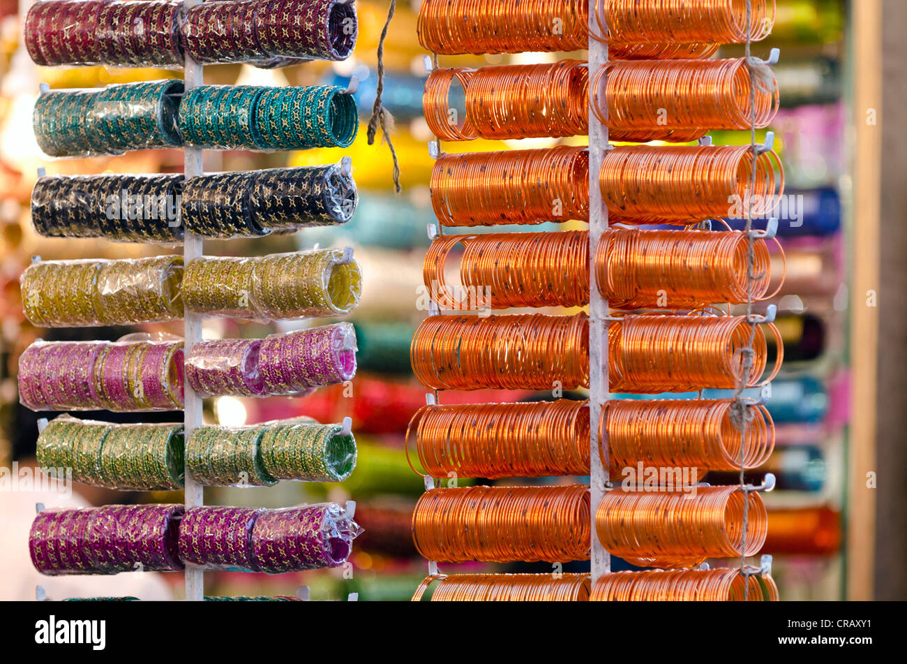 Glass bangles, Laad Baazar, Hyderabad, Andhra Pradesh, India, Asia - Stock Image