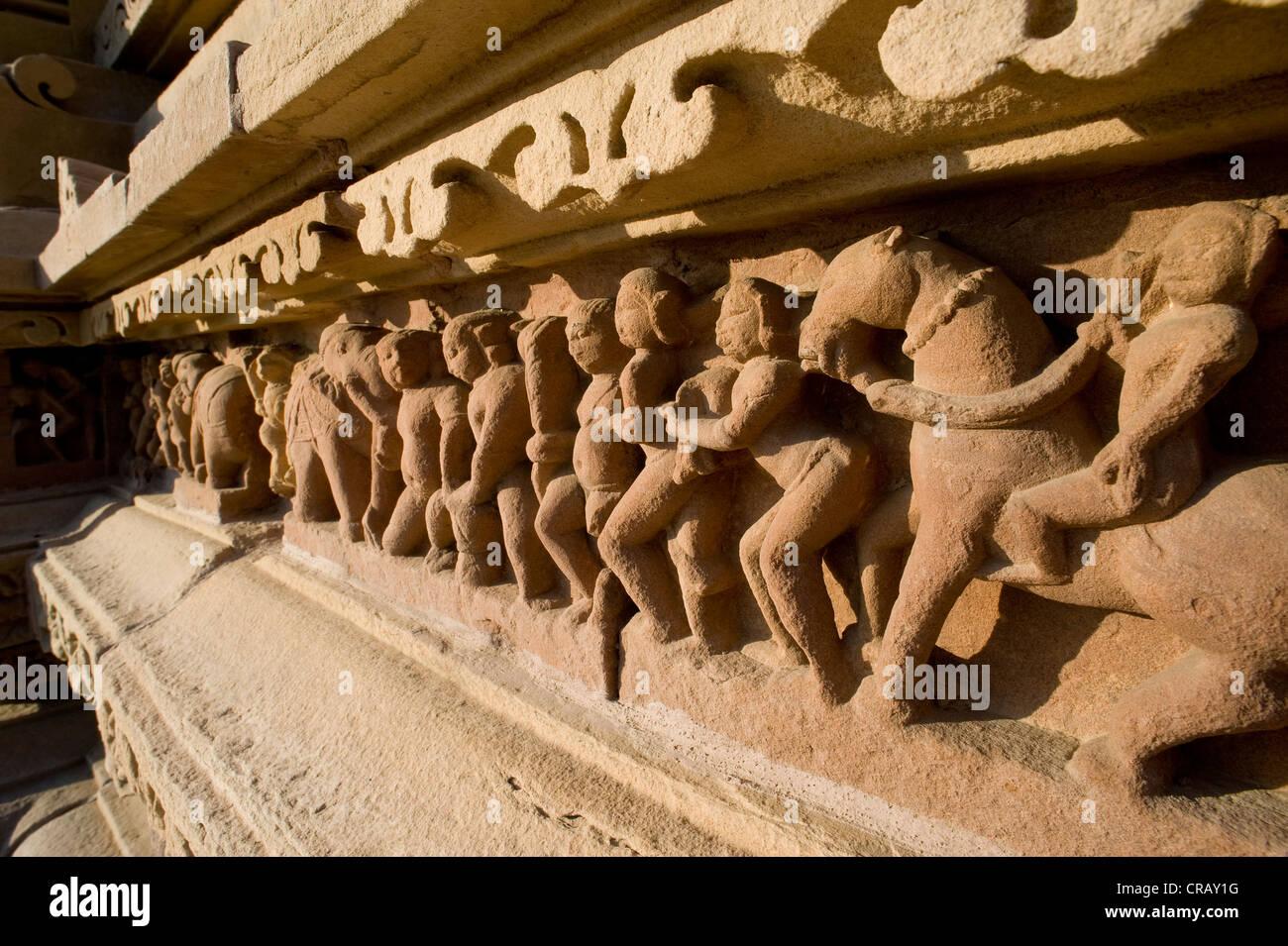 Relief, Khajuraho Group of Monuments, UNESCO World Heritage Site, Madhya Pradesh, India, Asia - Stock Image