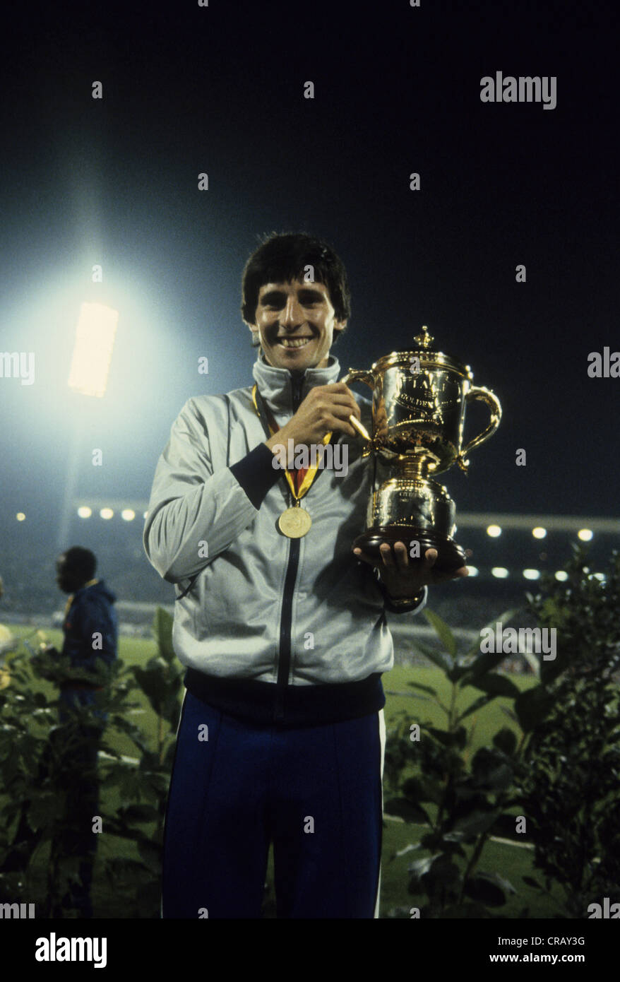 Seb Coe after breaking the world record in the mile in 3:47.33 in the 1981 Golden Mile, Brussels - Stock Image