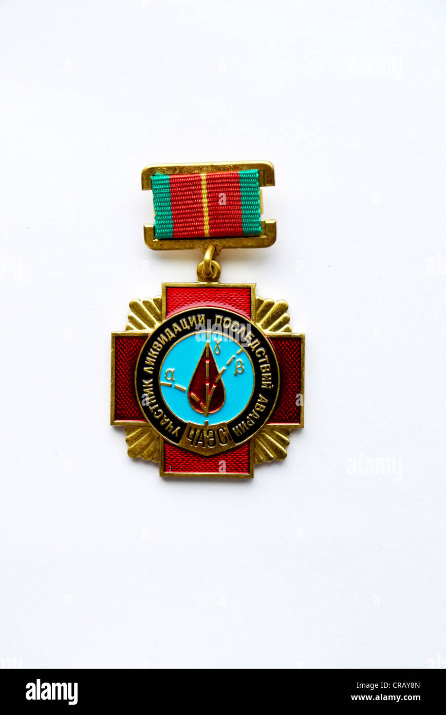 Badge for Liquidation Of The Chernobyl Incident - badge given to workers involved in the recovery and cleanup after - Stock Image