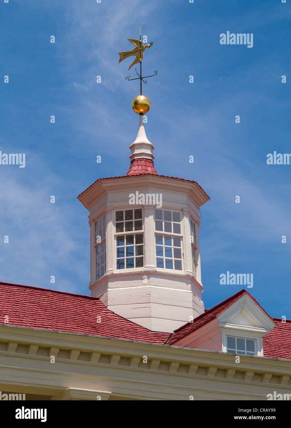 MOUNT VERNON, VIRGINIA, USA - Cupola on roof of plantation home of George Washington, first President of the United - Stock Image