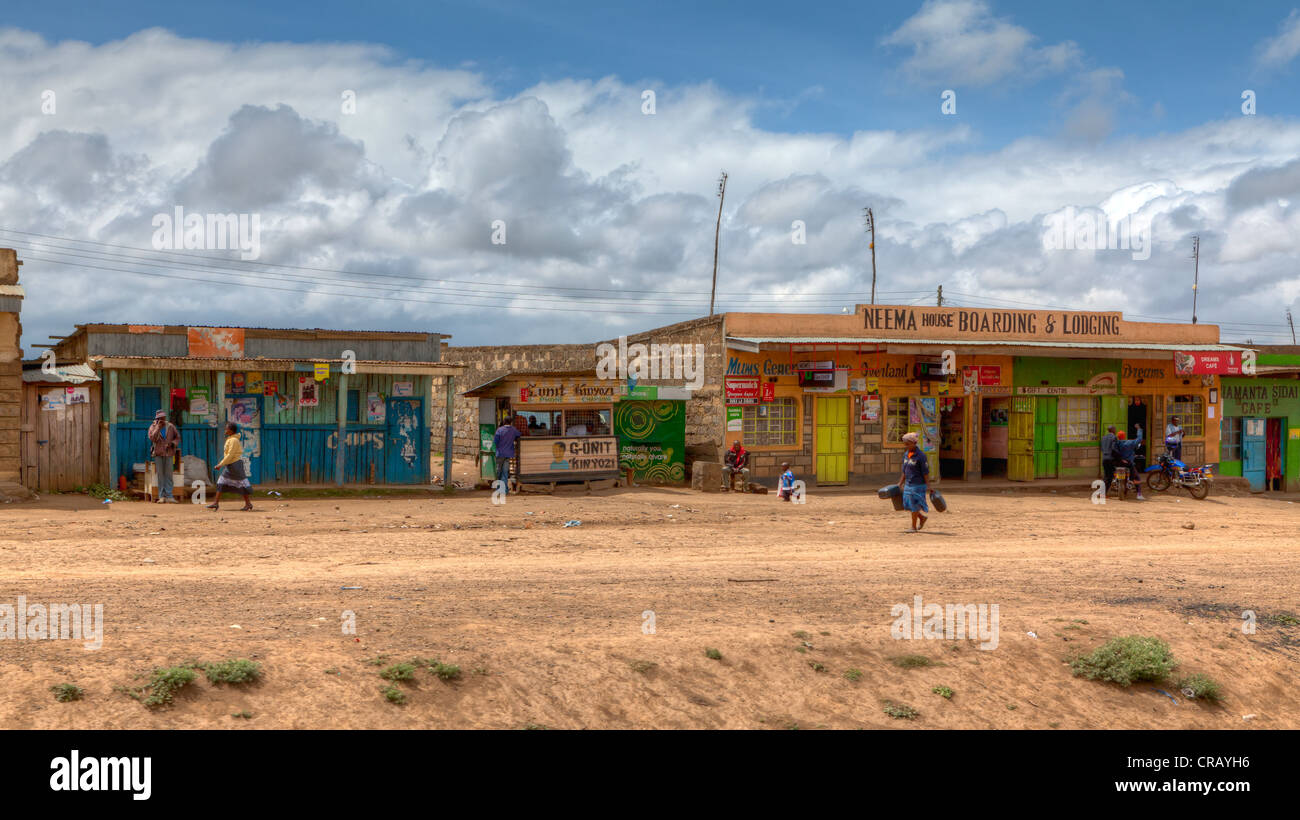 Typical small shops along the main road B3 Nakuru - Nairobi, Kenya, East Africa, Africa, PublicGround - Stock Image