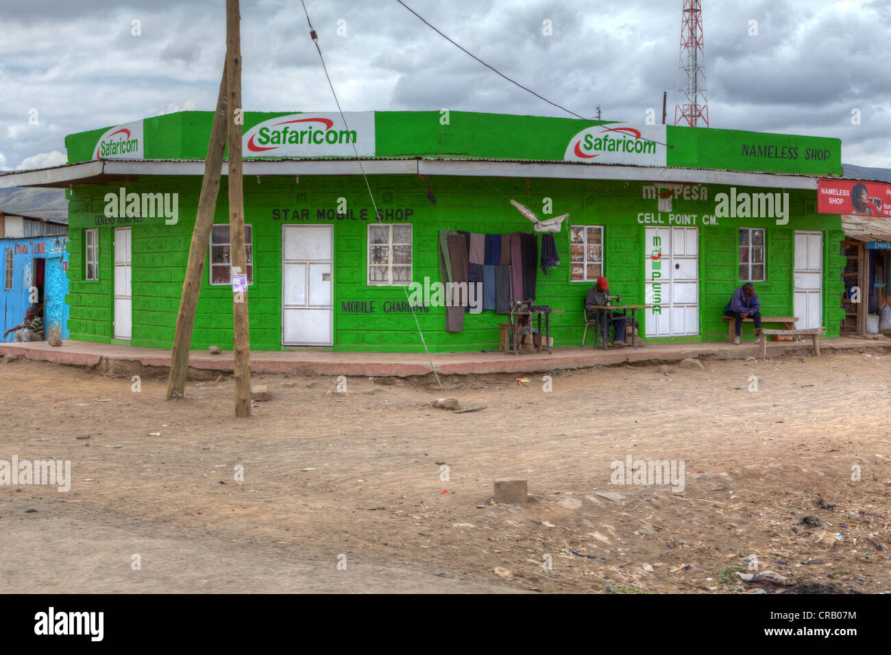 Typical small shops along the B3 rural road from Nakuru to Nairobi, Kenya, East Africa, Africa, PublicGround - Stock Image