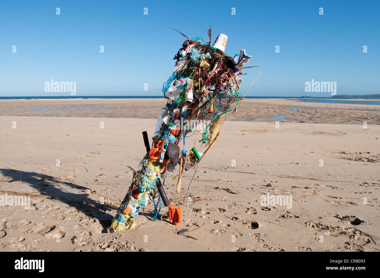 A sculpture of waste items found on a beach in cornwall, uk - Stock Image