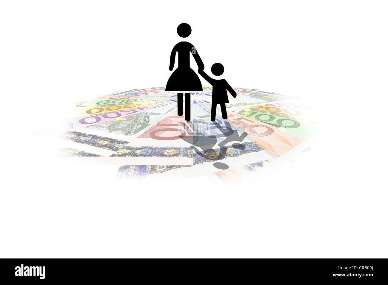 Pictogram of a mother on euro notes, symbolic image for an expensive lifestyle, cost of living for single mothers - Stock Image