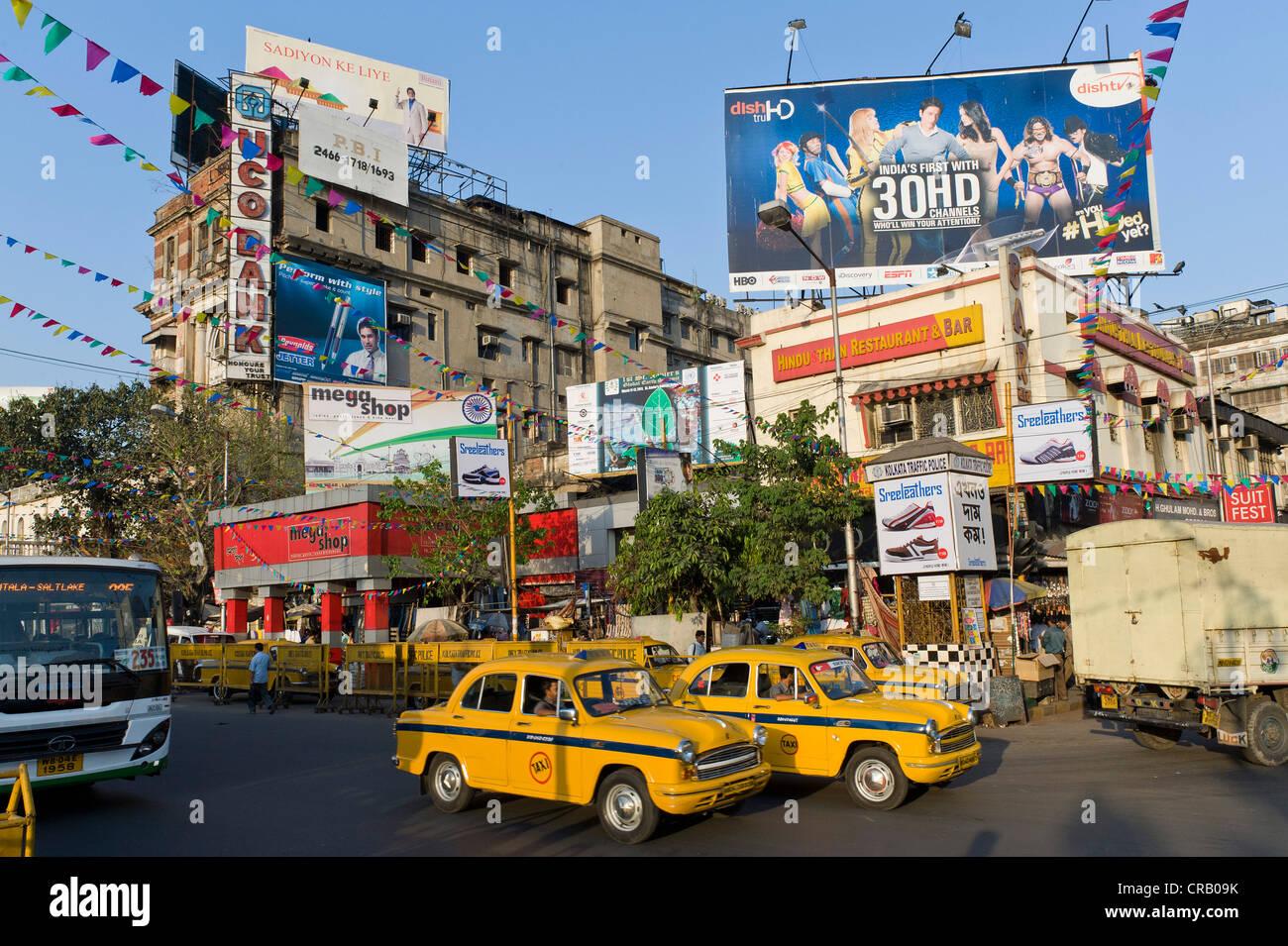 Jawaharlal Nehru Road, Calcutta, Kolkata, West Bengal, India - Stock Image