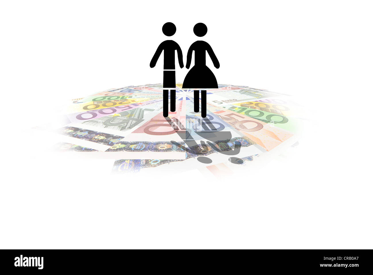 Pictogram of a couple on euro notes, symbolic image for an expensive lifestyle, cost of living for couples - Stock Image