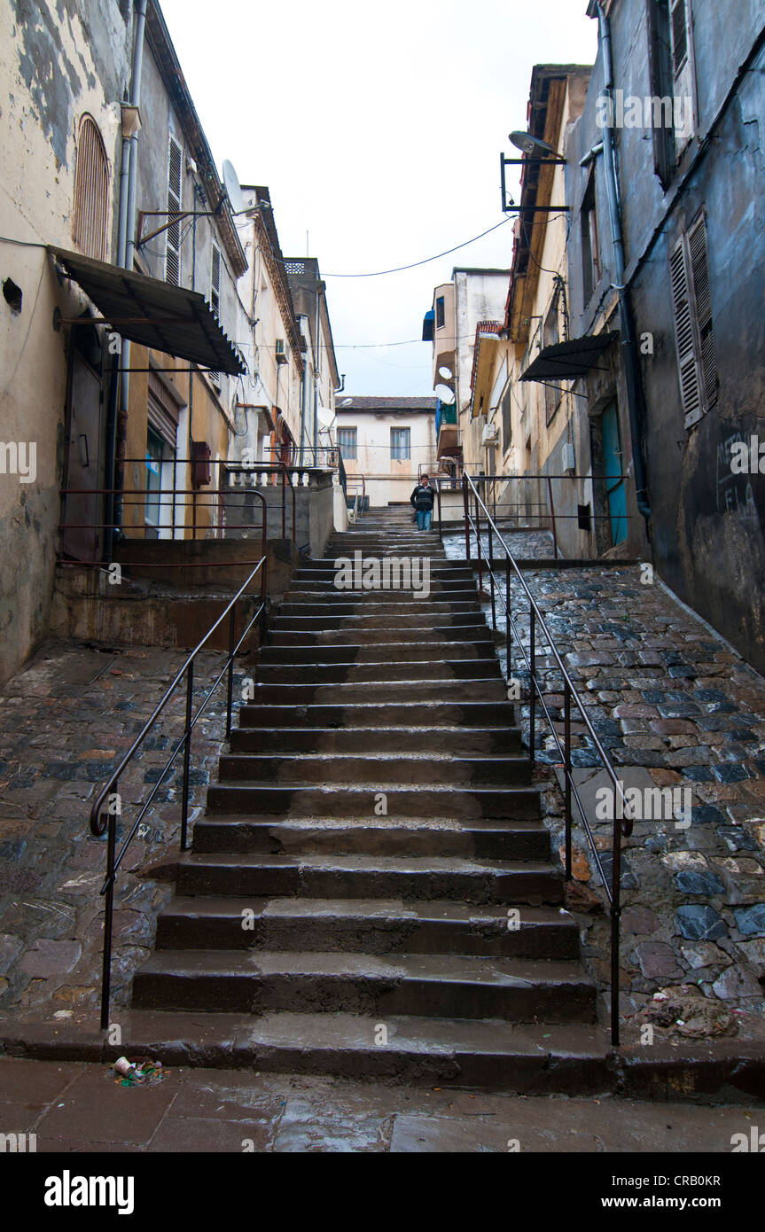Steep stairs in Bejaia, Kabylie, Algeria, Africa Stock Photo
