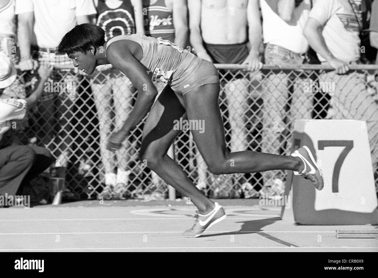 Chandra Cheeseborough competing at the 1980 US Olympic Track and Field Trials. - Stock Image