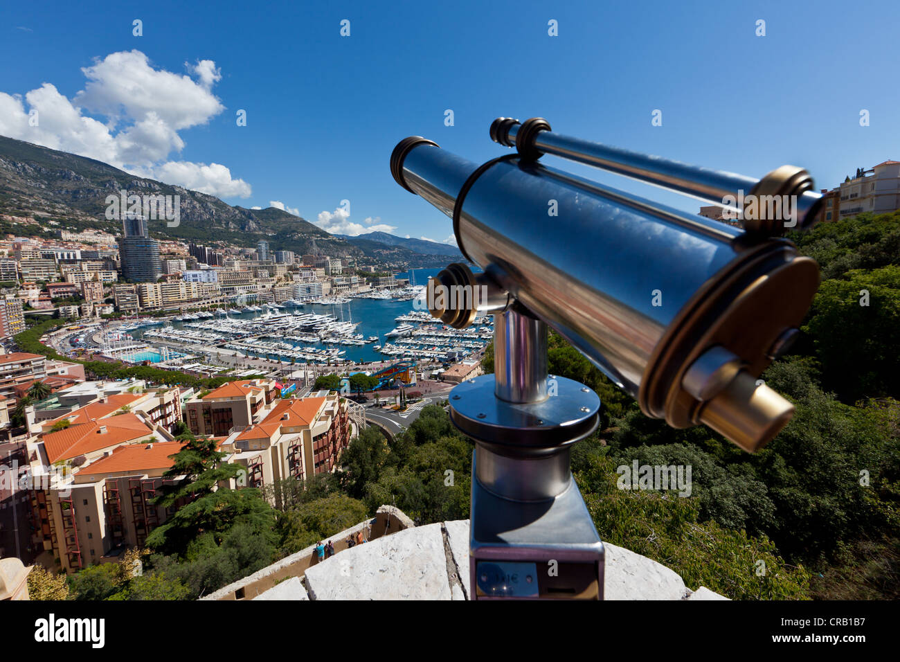 Overlooking the harbour of Monaco, Port Hercule, Monte Carlo, principality of Monaco, Cote d'Azur, Mediterranean, - Stock Image