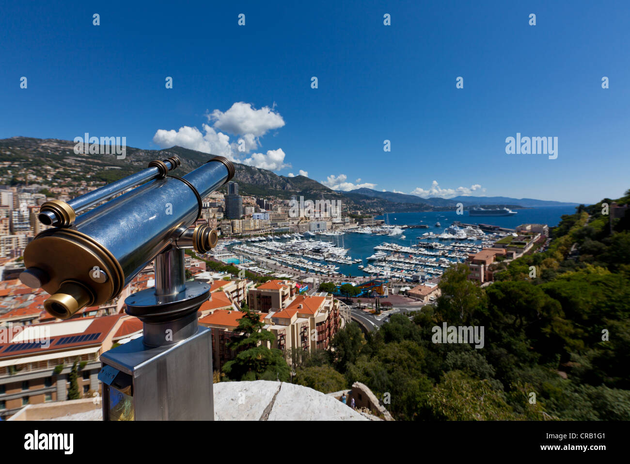 Telescope overlooking the harbour of Monaco, Port Hercule, Monte Carlo, Principality of Monaco, Côte d'Azur, - Stock Image