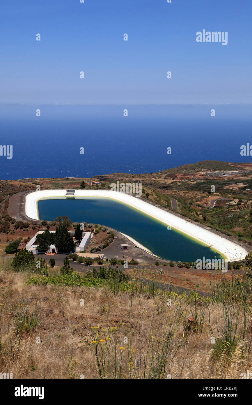 Attractive Water Storage Reservoir Above The Atlantic Ocean, Embalse De La Montana De  Arco, Punta Gorda, La Palma, La Isla Verde