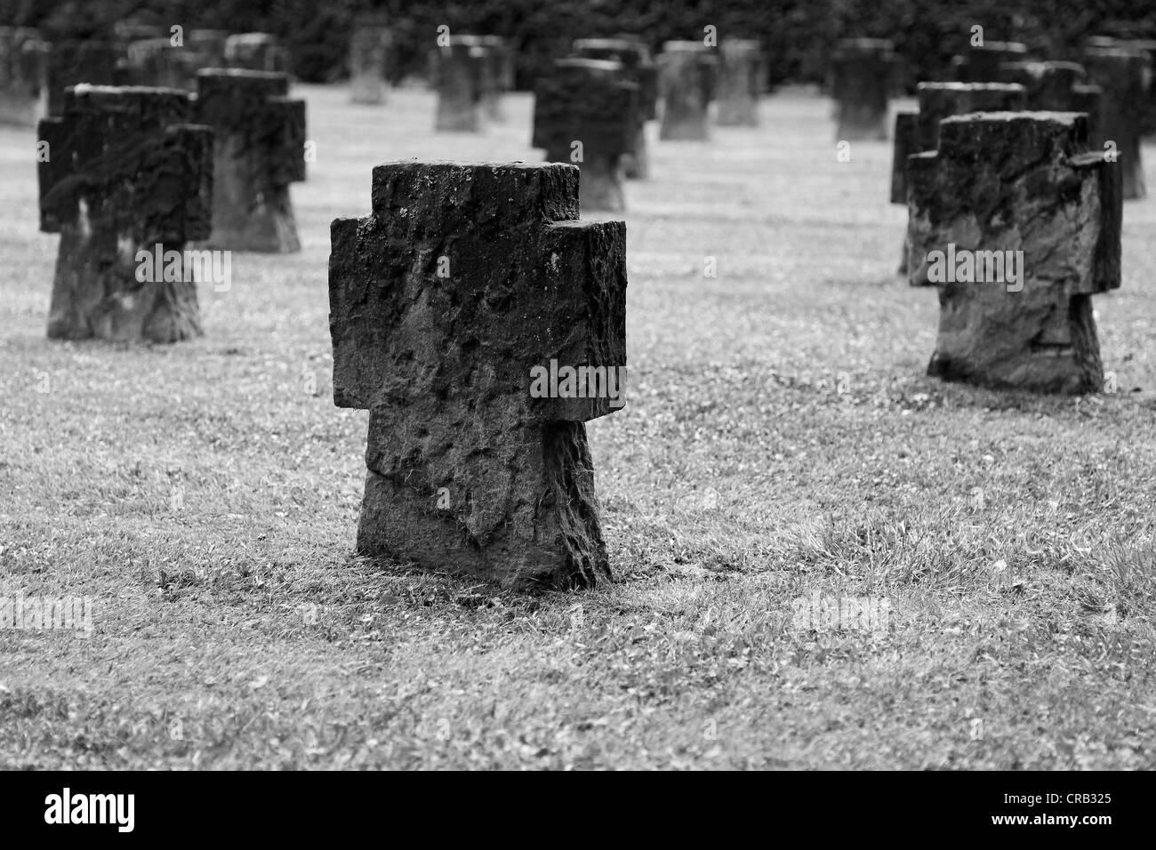 Gravestones, stone crosses, cemetery - Stock Image