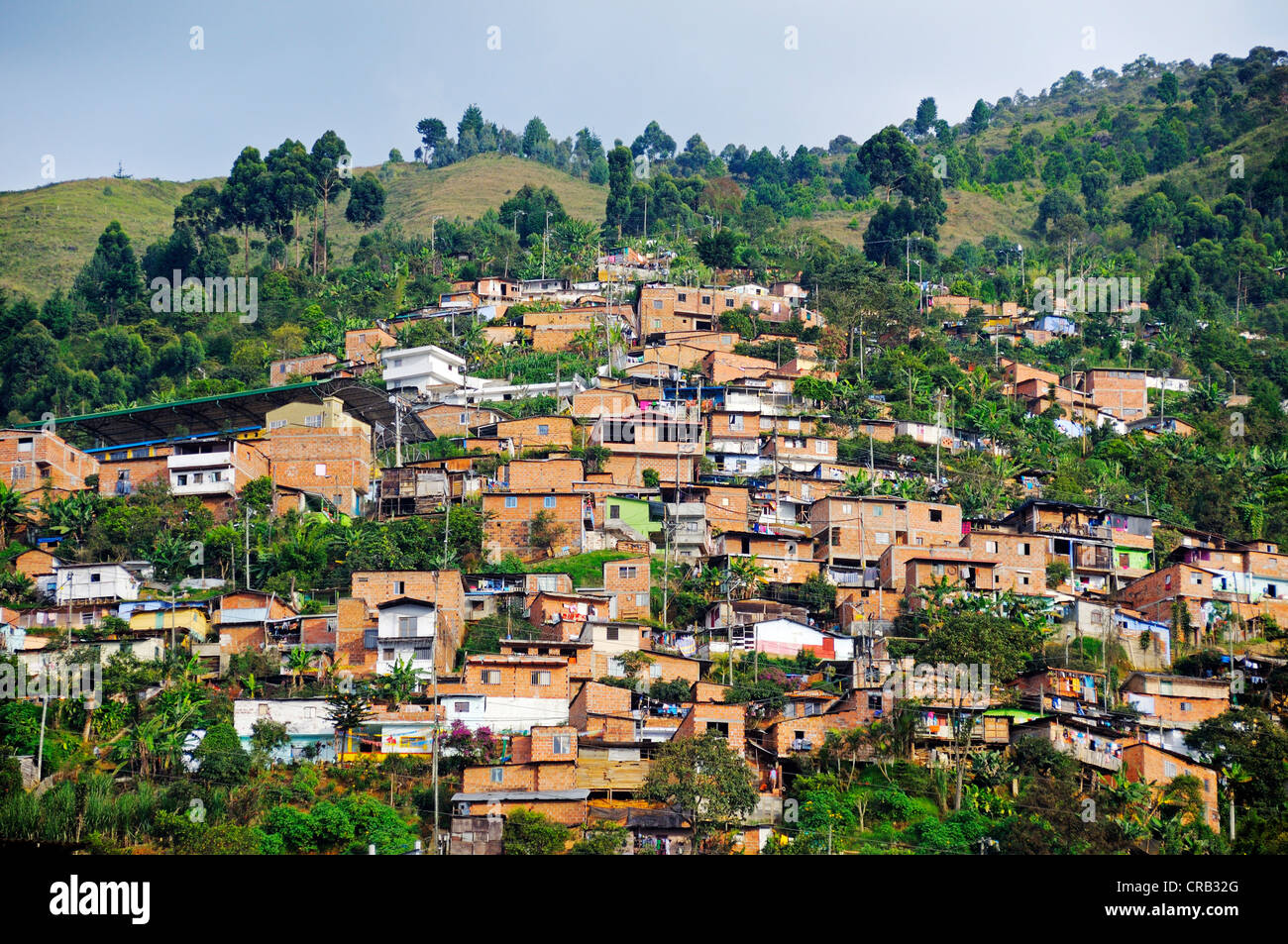 Slums, Comuna 13, Medellin, Colombia, South America, Latin America, America - Stock Image