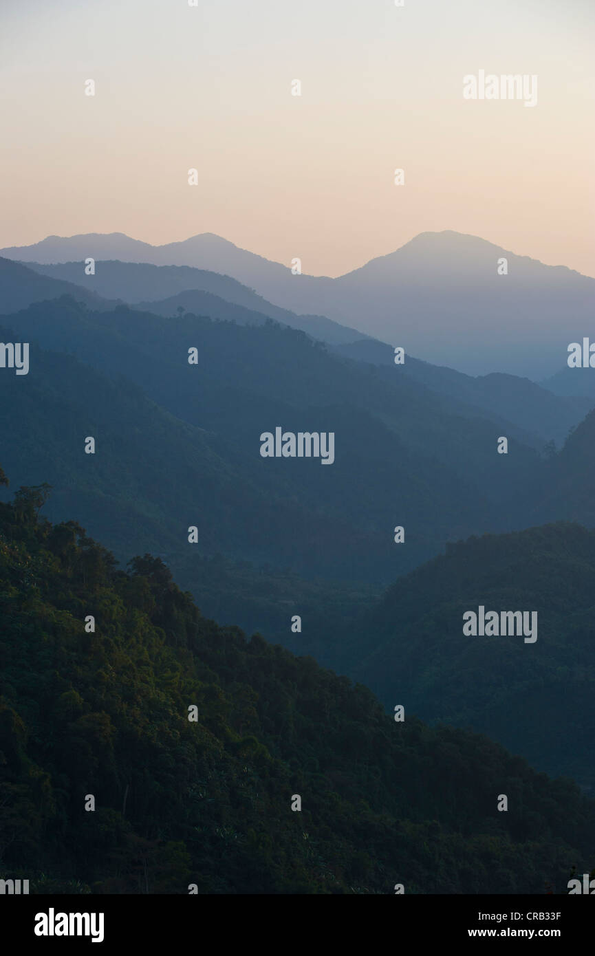 Pristine jungles of Arunachal Pradesh in the light of the setting sun, North East India, India, Asia - Stock Image