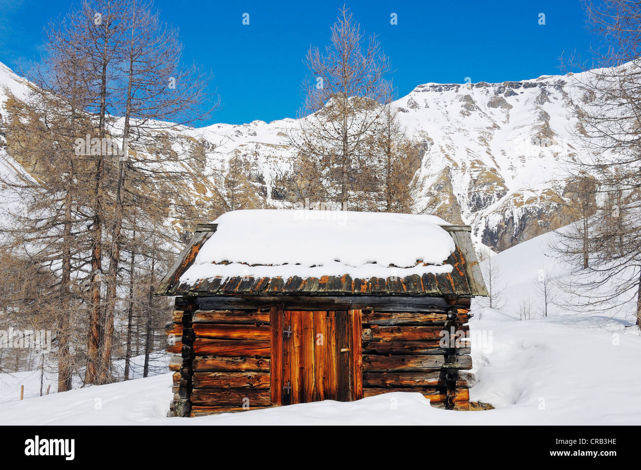 Log cabin, Grosse Fleisstal valley near Heiligenblut, National Park Hohe Tauern, Carinthia, Austria, Europe - Stock Image