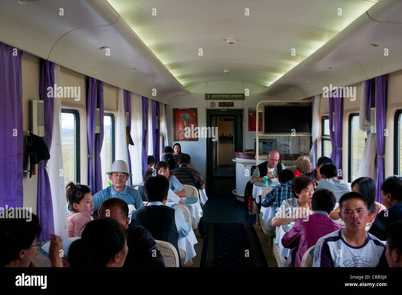 On the train from Lhasa to Chengdu, Tibet, Asia - Stock Image
