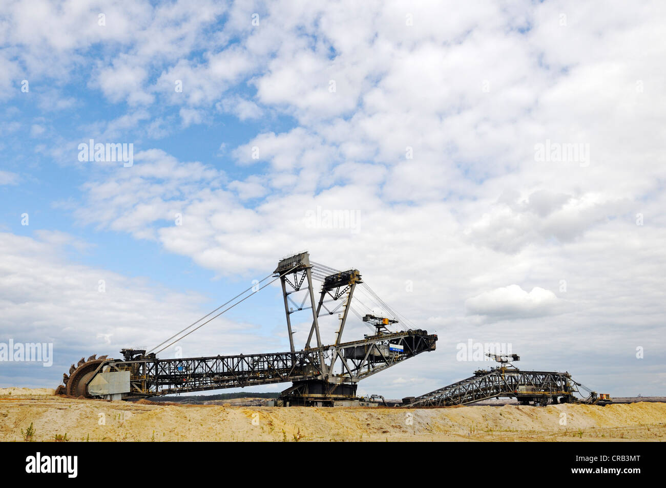 Bucket-wheel excavator in the open pit Welzow-Sued, mining of brown coal by the Vattenfall energy company, Lower Stock Photo
