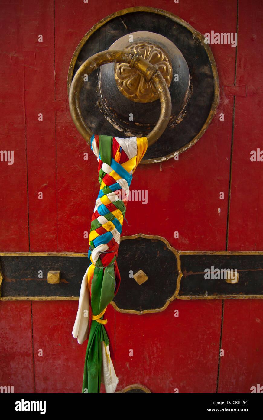 Tibetan door knob, Norbulingka Summer Palace, UNESCO World Heritage Site, Lhasa, Tibet, Asia - Stock Image