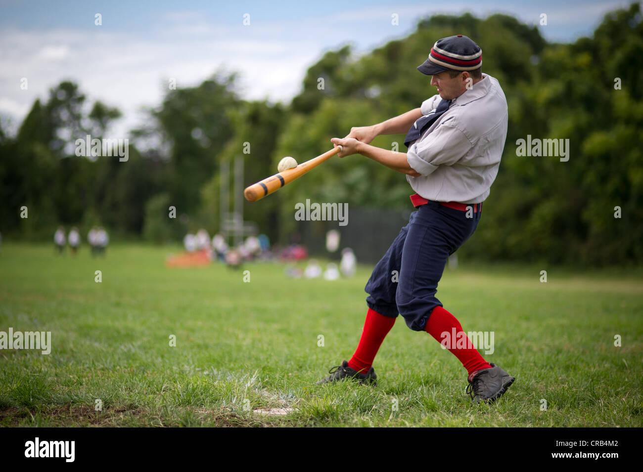 Men playing a game of Vintage Base Ball - Stock Image