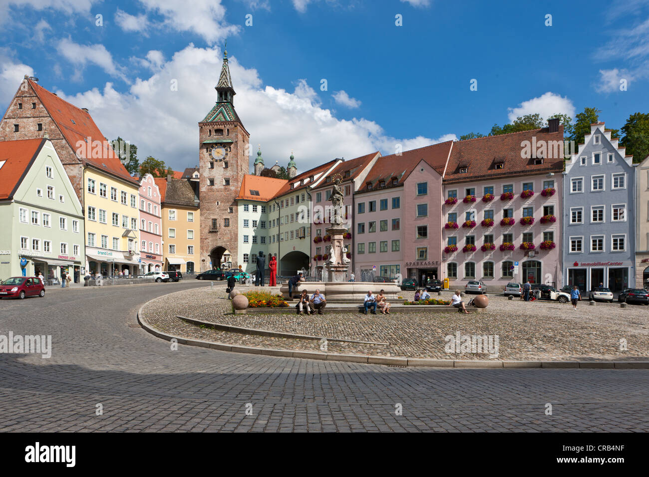 hauptplatz square marienbrunnen fountain and schmalzturm tower stock photo 48803035 alamy. Black Bedroom Furniture Sets. Home Design Ideas