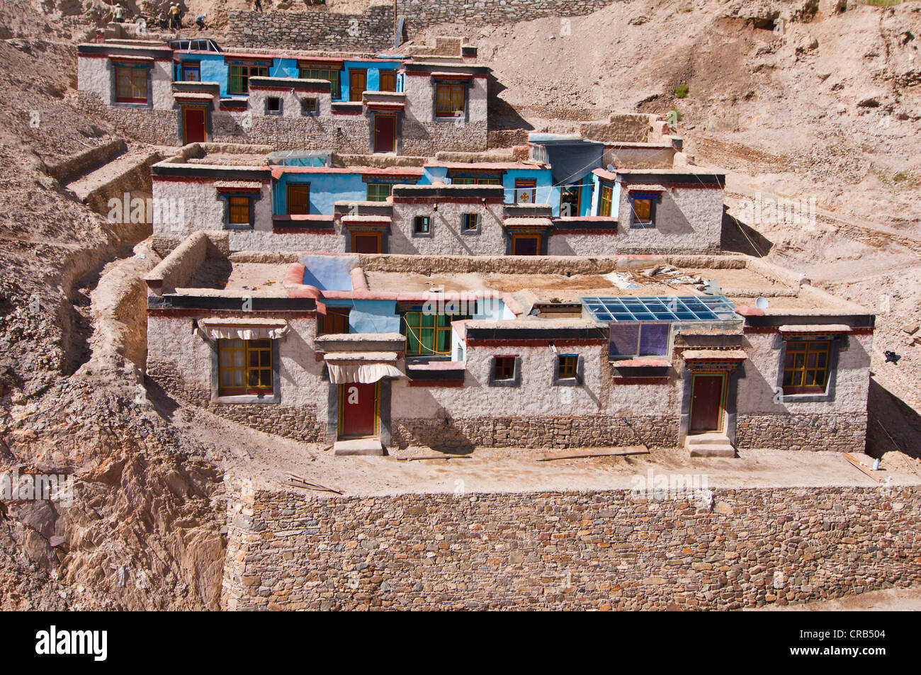 Tibetan houses in Gyantse, Tibet, Asia Stock Photo