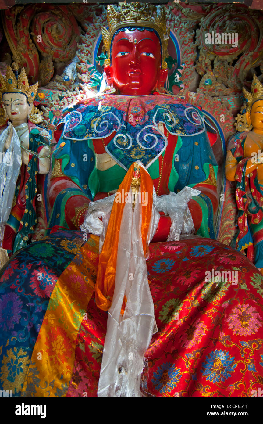 Buddha in the Kumbum of Gyantse Monastery, Gyantse, Tibet, Asia - Stock Image