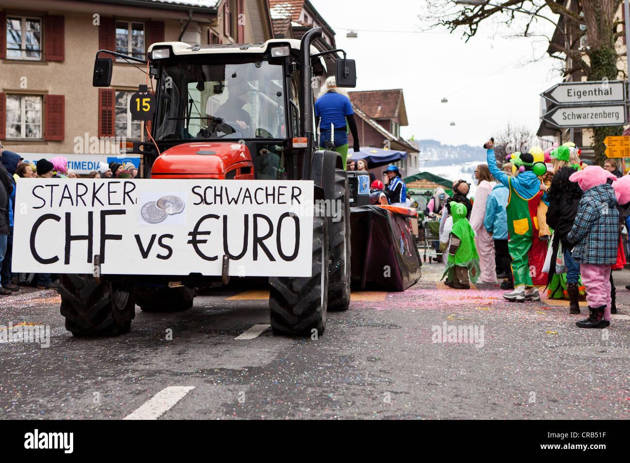 Sign lettering 'Starker CHF vs. schwacher Euro', German for 'Strong Swiss franc vs. weak euro', - Stock Image