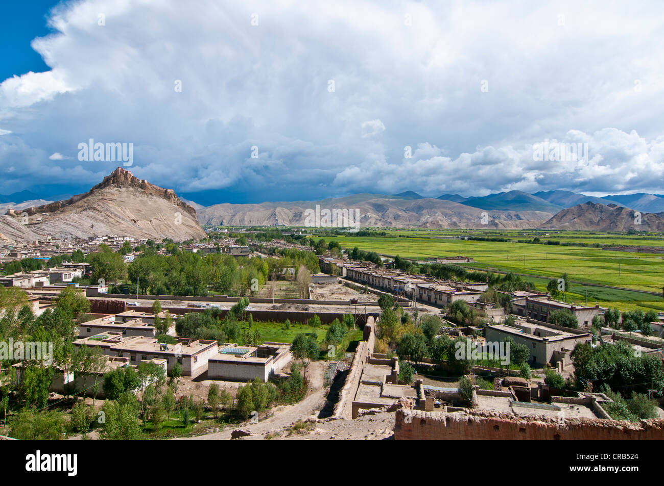 The old Tibetan quarter with the Gyantse Dzong or Gyantse Fortress at back, Gyantse, Tibet, Asia - Stock Image