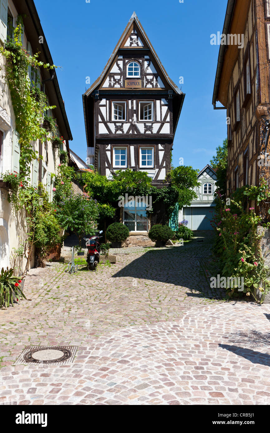 Franconian half-timbered buildings, Badgasse, an alley in Bad Wimpfen, Neckartal, Baden-Wuerttemberg, PublicGround - Stock Image