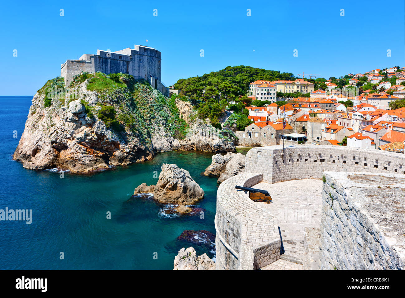 Fort Lovrijenac and the city walls of Dubrovnic, UNESCO World Heritage Site, central Dalmatia, Dalmatia, Adriatic Stock Photo