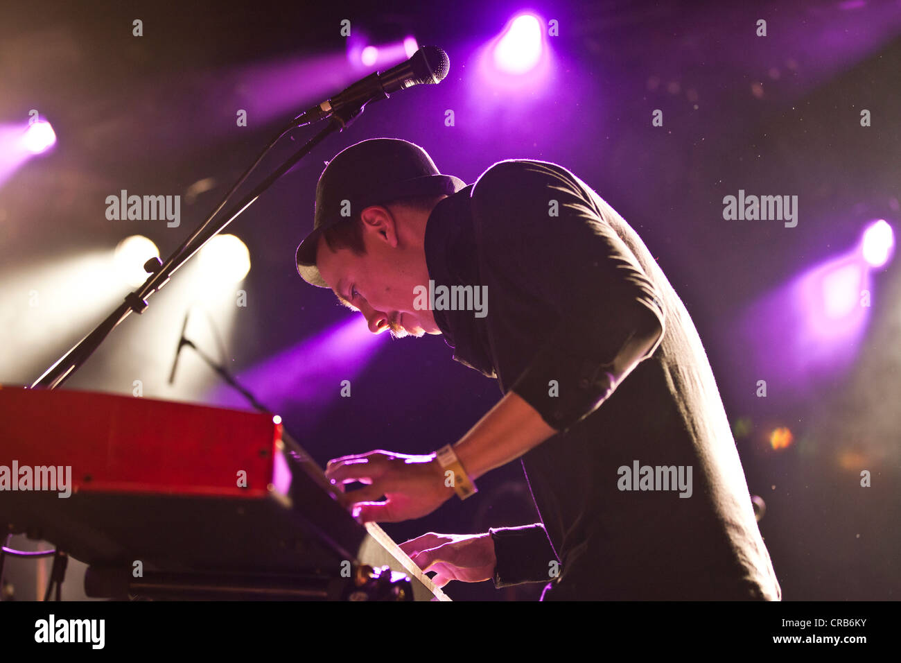 Jess Jensen, keyboard player of the Danish band Saybia, performing live at the Schueuer in Lucerne, Switzerland, - Stock Image