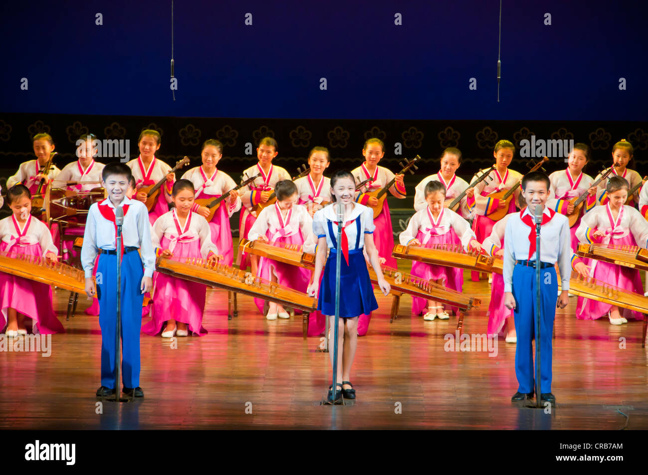 Selected children performing in the Children's Palace, Pyongyang, North Korea, Asia - Stock Image