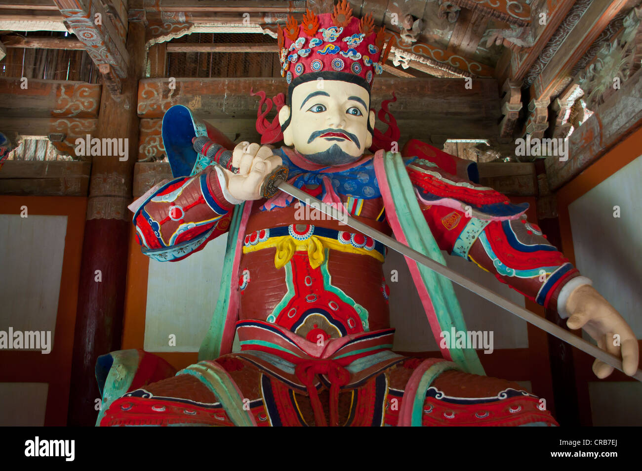 Colourful statue at the Buddhist Pohyon Temple on Mount Myohyang-san, North Korea, Asia Stock Photo