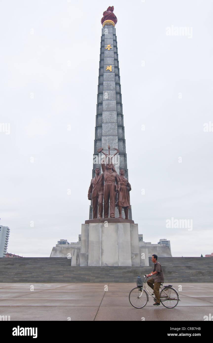 Juche Tower, Pyongyang, North Korea, Asia - Stock Image