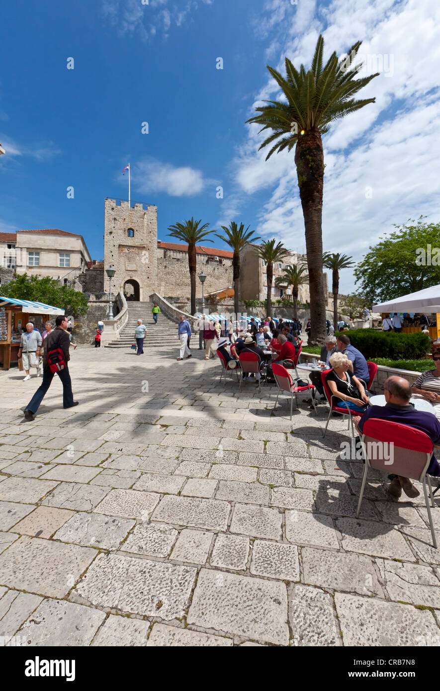 Historic centre of Korcula with tourists in front of the castle, central Dalmatia, Dalmatia, Adriatic coast, Croatia, - Stock Image