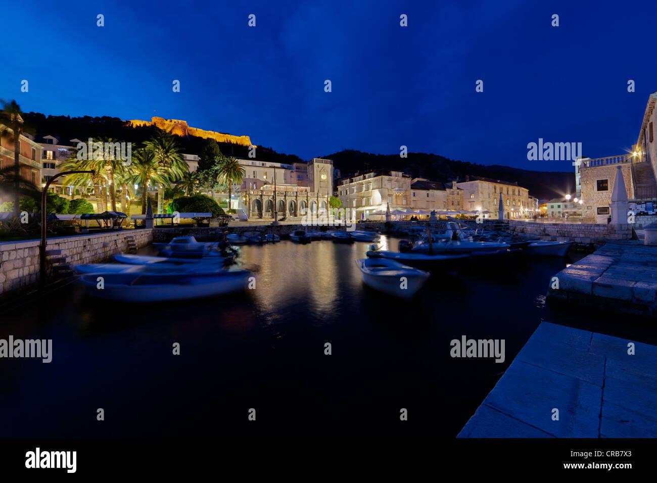 Harbour promenade at Trg Svetog Stjepana, St. Stephen's square, Hvar, Hvar Island, central Dalmatia, Dalmatia, - Stock Image