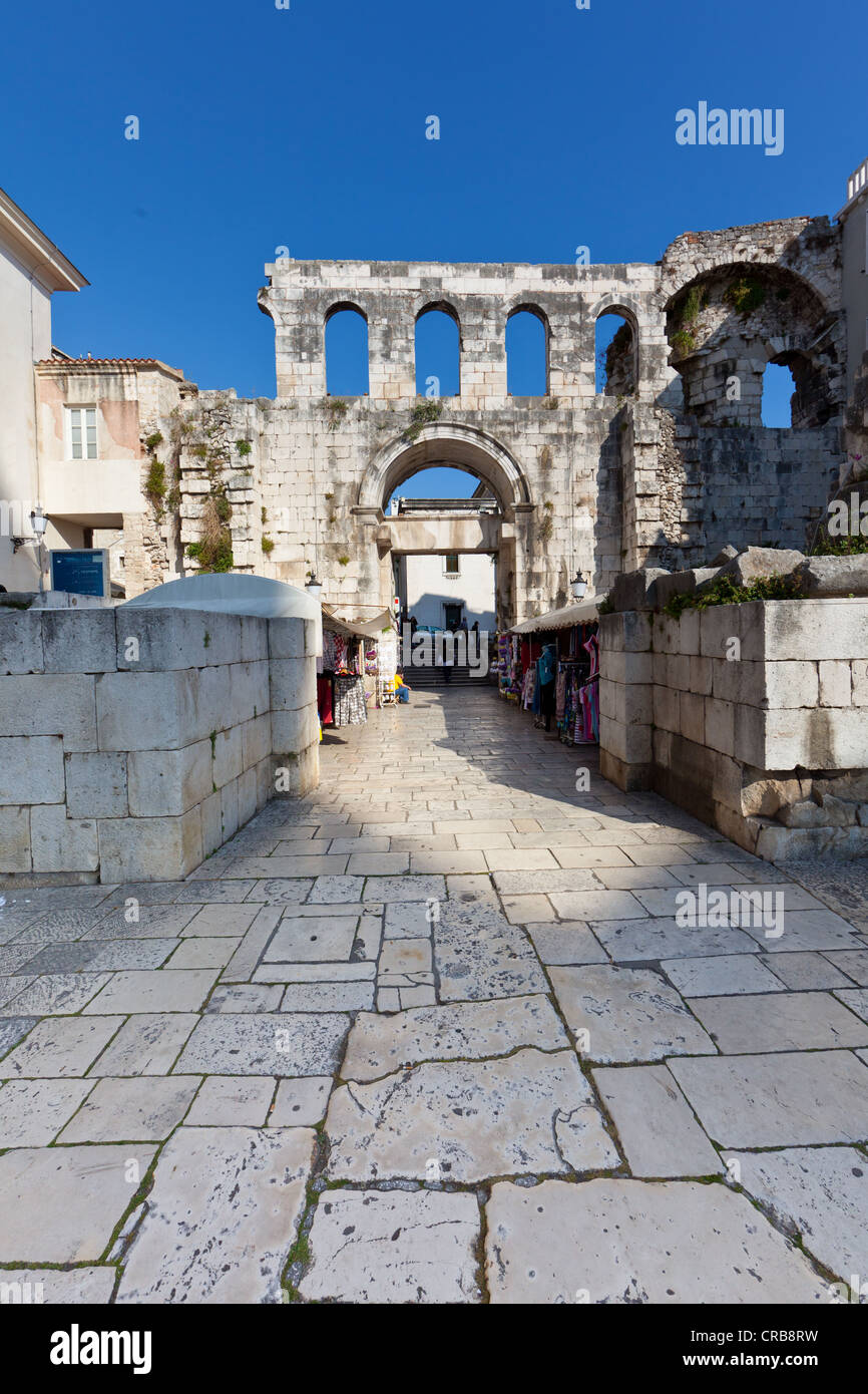 East gate, Porta Argentea, square between Peristyle and Split Cathedral, historic town centre, Split, Central Dalmatia, Stock Photo