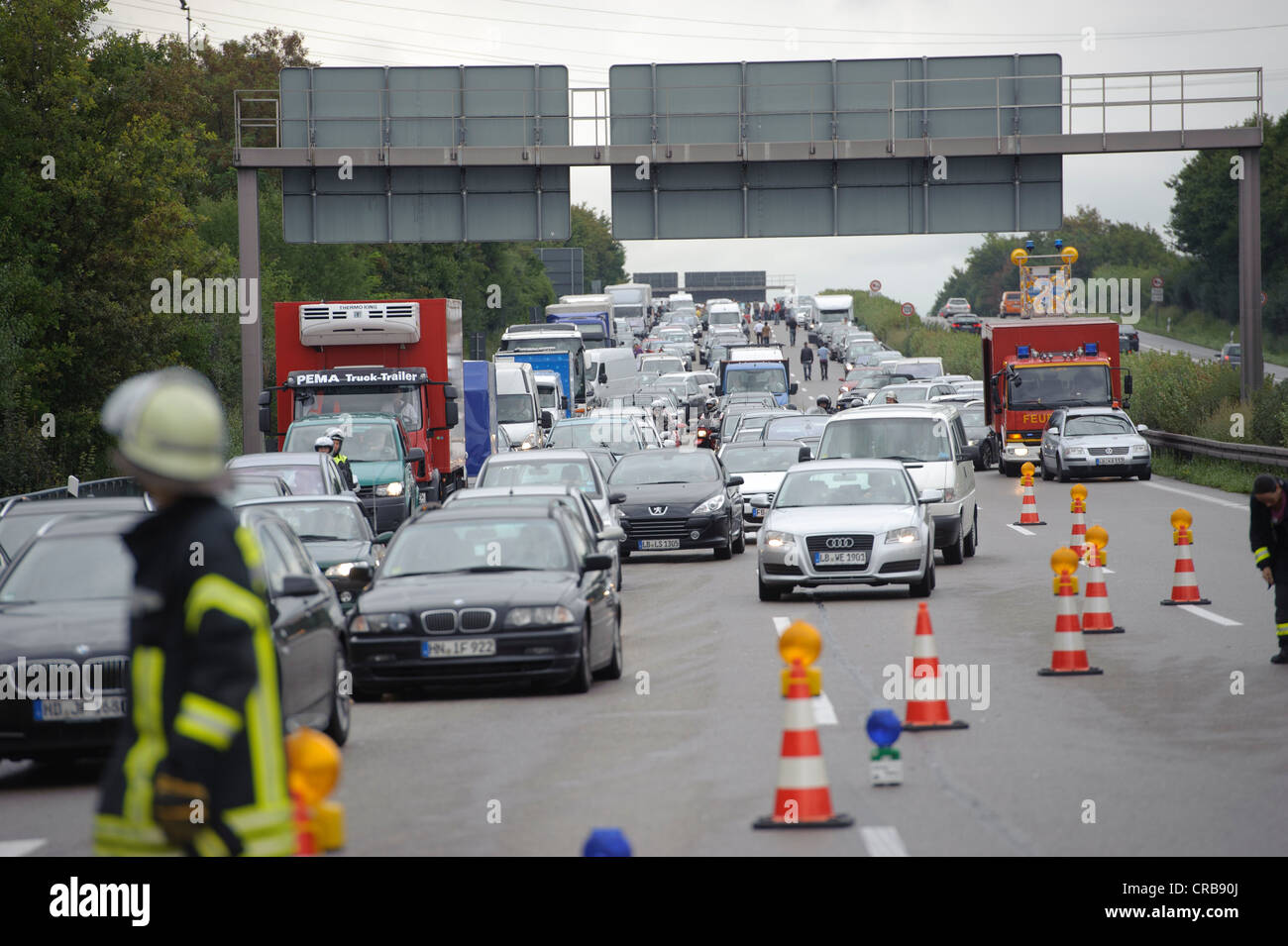 Traffic jam following a serious road traffic accident on the