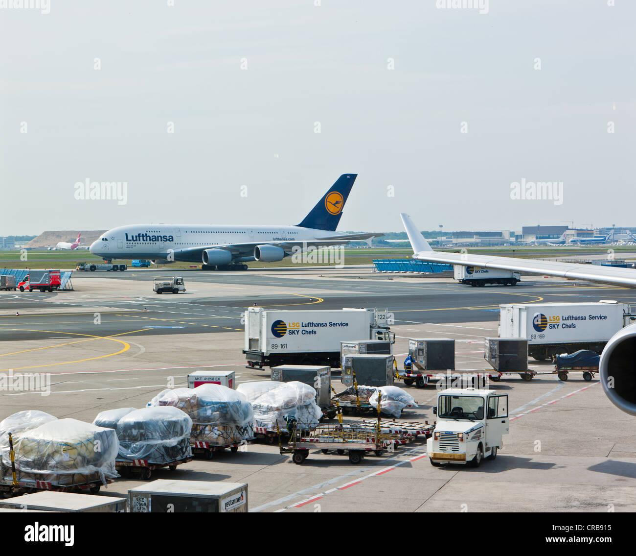 Lufthansa Airbus A380 on the tarmac, Frankfurt, Hesse, Germany, Europe - Stock Image