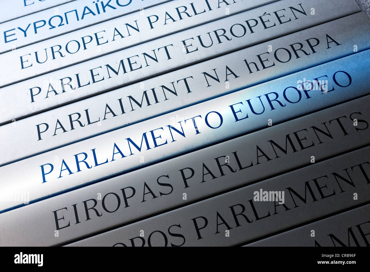 Italian reference to the European Parliament on multilingual sign, Euro-City, Brussels, Belgium, Europe - Stock Image