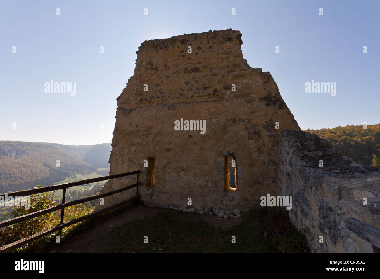 Ruins of Schloss Hausen castle, preserved gable wall, Upper Danube Nature Park, Sigmaringen district, Baden-Wuerttemberg - Stock Image